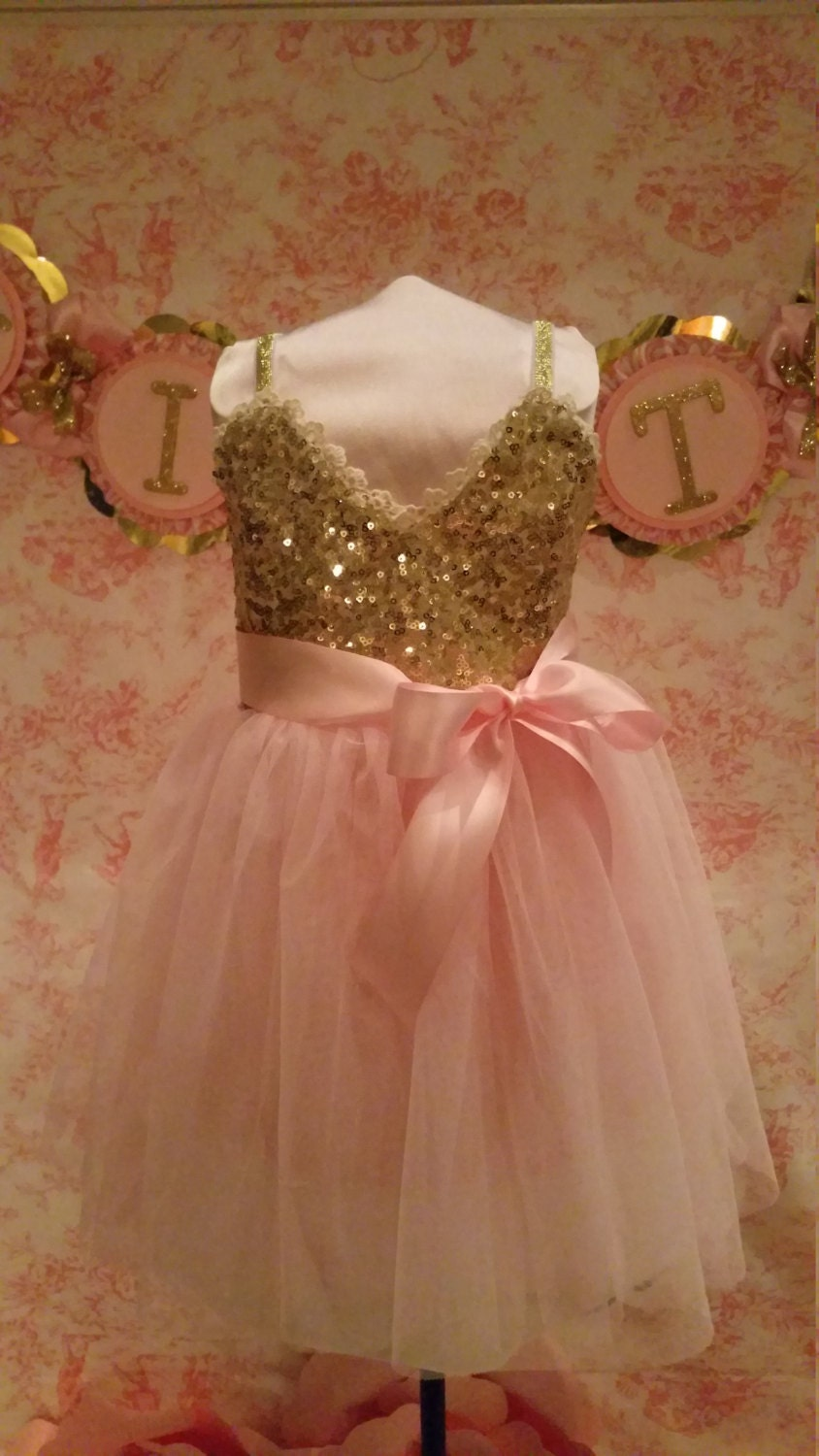 Pink And Gold Dress Gold Dress Flower Girl Dress Sequin And Pink