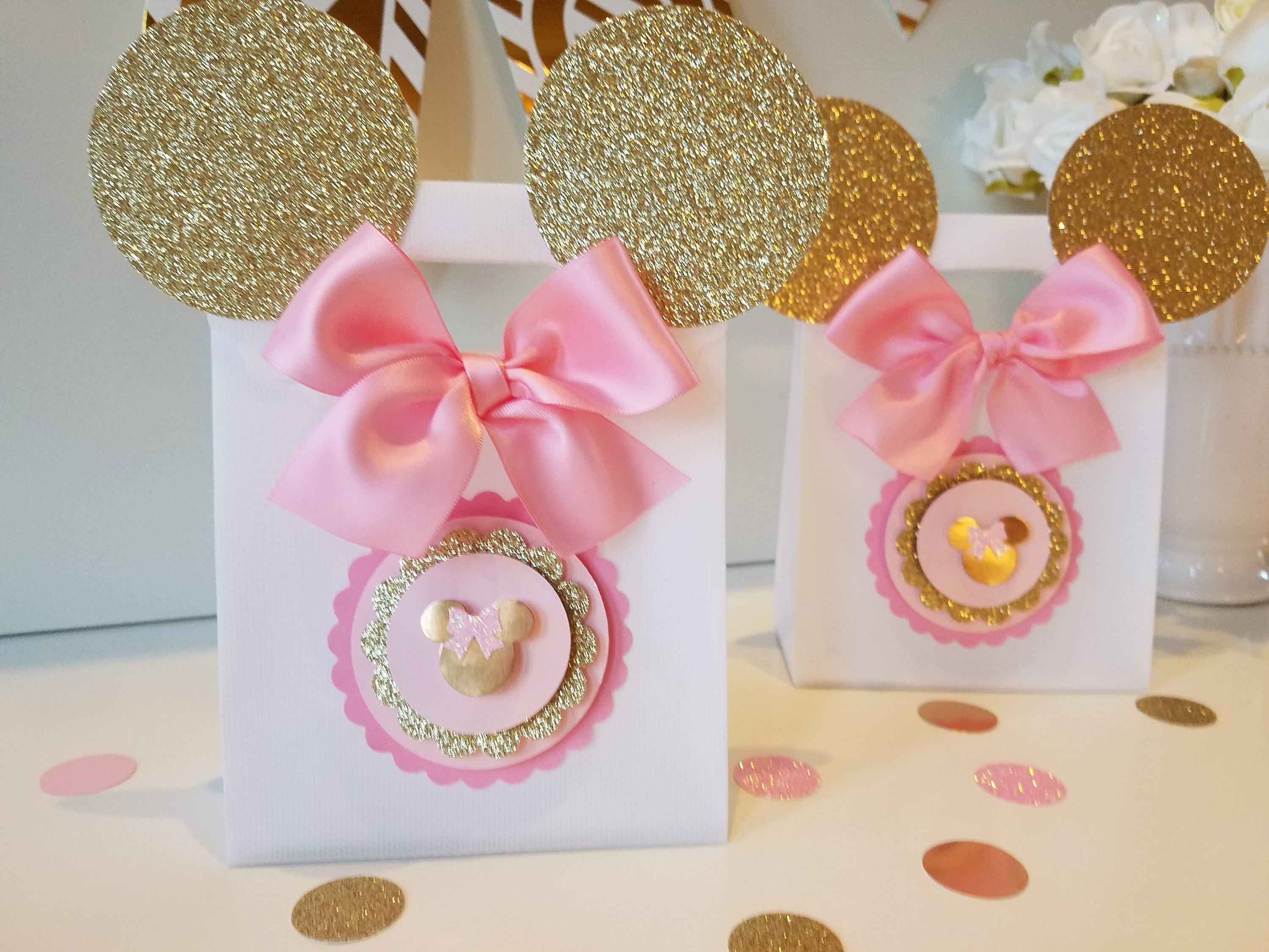 Pink And Gold Minnie Mouse Mini Popcorn box, Gold & Pink party favor ...