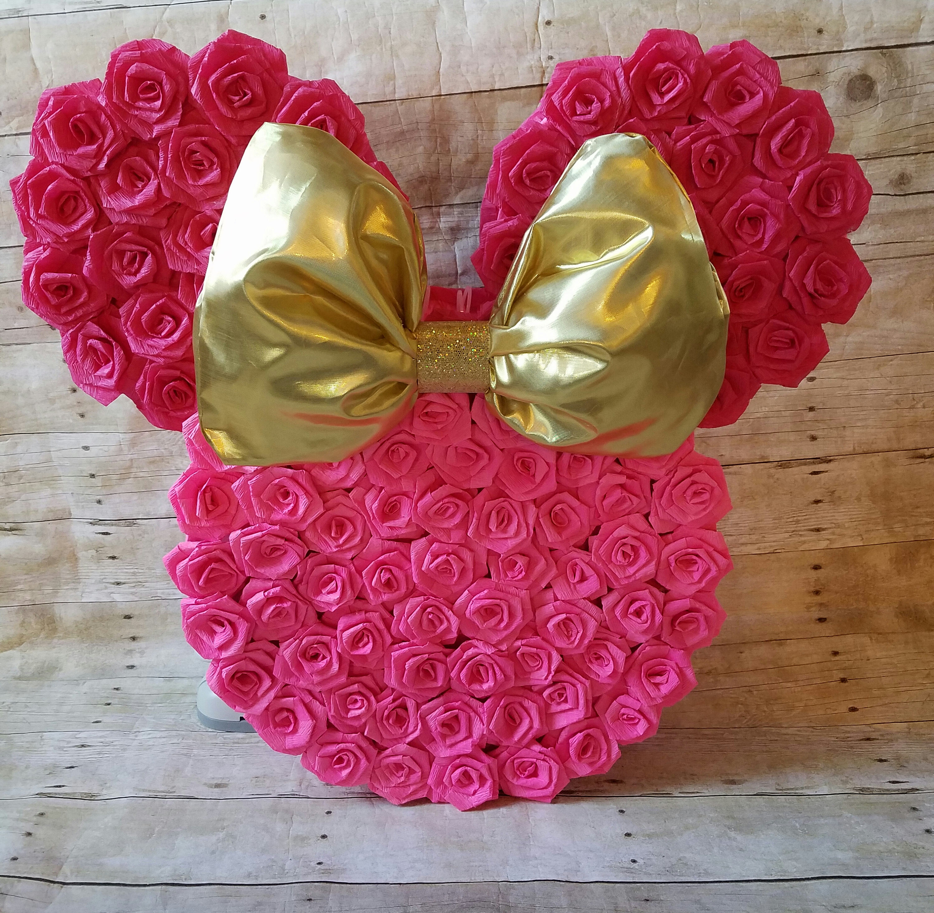 Hot Pink And Gold Minnie Mouse Pinata Gold And Hot Pink