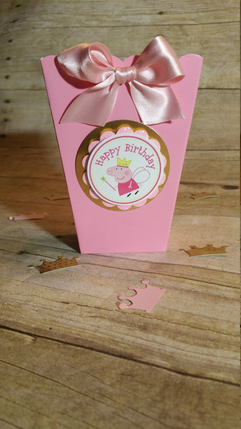 Pink and gold Peppa pig Mini Popcorn Boxes (Inspired) theme party ...