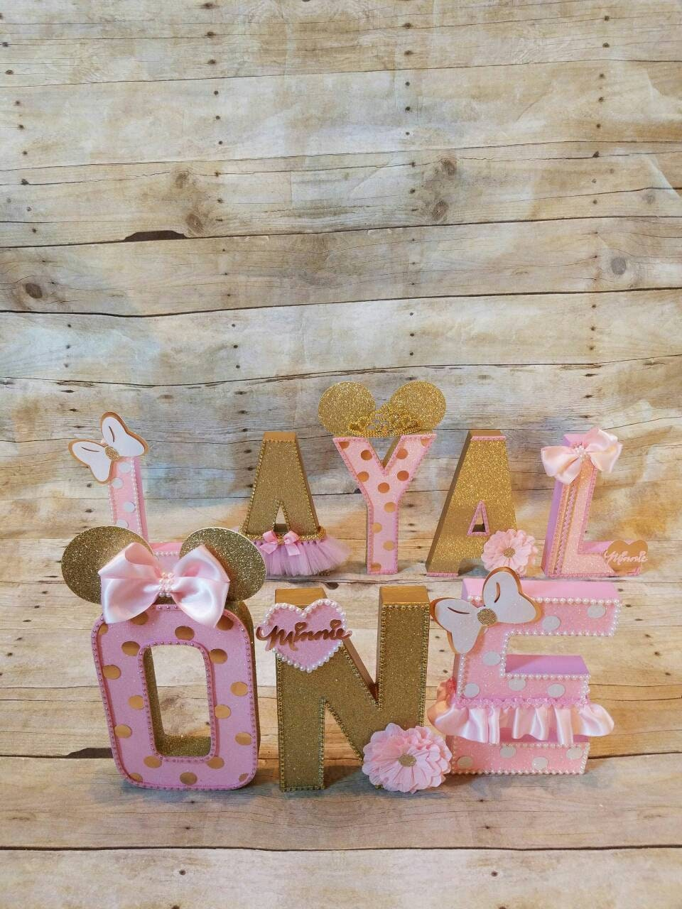 Pink And Gold Minnie Mouse Party Partyletters