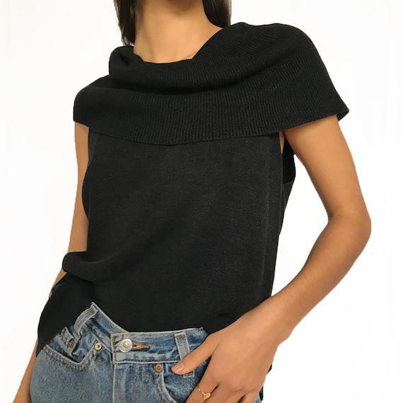 Vintage Silk Cowl Neck Knit Tank Top