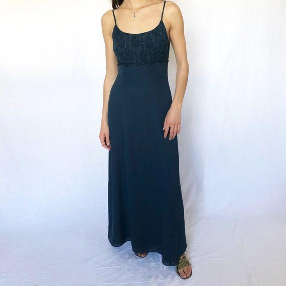 Vintage Deep Teal Lace Trim Gown