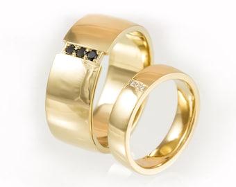 Matching wedding bands, diamond wedding ring set, his and hers wedding rings, simple wedding band set, matching diamond rings