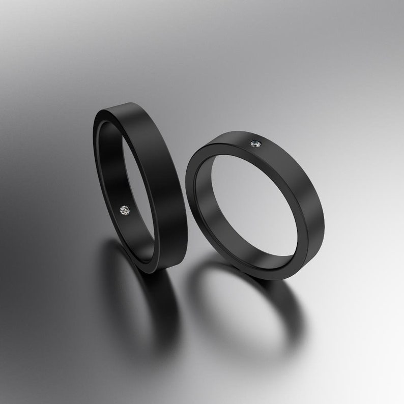 Black Wedding Ring Set Simple Black Diamond Ring Black Wedding Band Flush Set Diamond Black Wedding Band Men Black Zirconium Ring