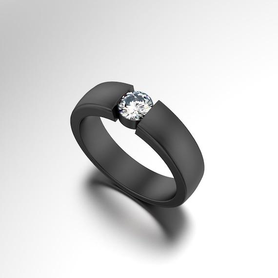 Black Diamond Ring Mens Engagement Ring Men S Black Etsy