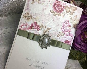 Vintage wedding invitations , rustic wedding invitations, sage green invitations, flowery wedding invitations, vintage floral invitation