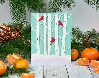 Cardinal Birds Christmas Card, Winter Holiday Card, Greeting Card, Xmas Card, Holiday & Seasonal Card, Postcard