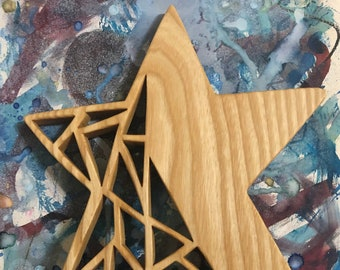 Ash Star - handcrafted geometric hanging wood art created using my scrollsaw - made by MuseFire art