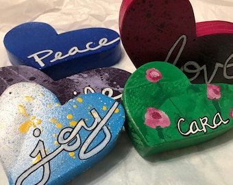 Box of heARTs - handcrafted from repurposed wood, vibrantly painted, inscribed hearts - tools for spreading love & joy made by MuseFire Art