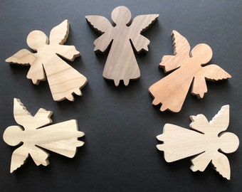 Handcrafted Wooden Angel - cut using my scroll saw & finished by hand - Ready to hang or display - gift - tribute - personalize MuseFire Art