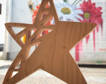 Cherry Star - handcrafted geometric hanging wood art created using my scrollsaw - made by MuseFire art