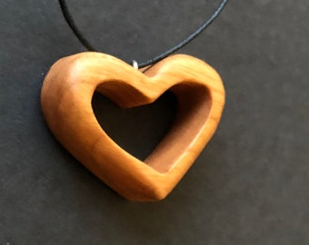 Open Heart Cherry Pendant - Handcrafted Wearable Wooden Necklace - Personalization  available inside the Heart
