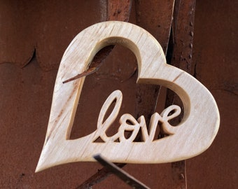 Open Hearted Love - Handcrafted Ambrosia Maple wood art created using my drill, scroll saw, and hand tools. Created by MuseFire art
