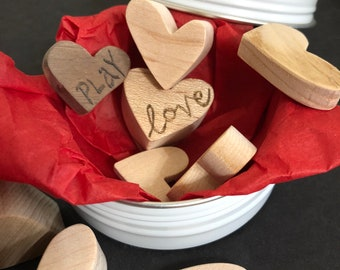 Wooden Conversation Hearts handcrafted from assorted woods by MuseFire art - personalized and inscribed with pyrography - intention art