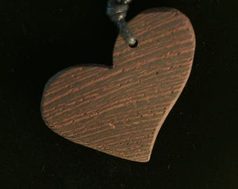 Wenge Heart Pendant - Handcrafted Wooden Necklace made using scroll saw and hand tools by MuseFire art