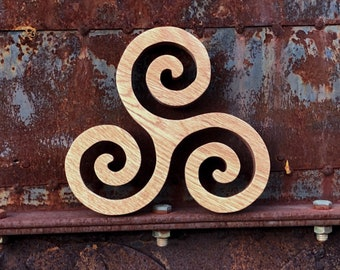 Handcrafted Oak Wood Triskele Trivet - Functional Wood art for your kitchen and your dining table