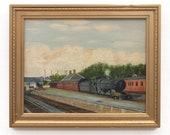 Steam Locomotive Oil Painting Vintage Railroad Art Great Western Railway Highbridge Station Somerset English Landscape