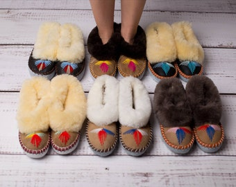 Lucky Dip Sheepskin Slippers Moccasins Natural Leather Wool Warm Fluffy