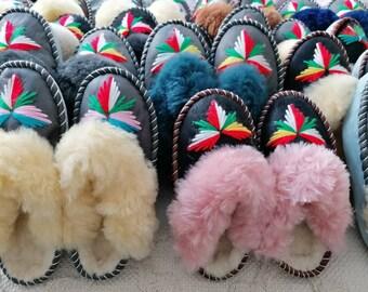 Lucky Dip Sheepskin Mules Slippers Wool Warm Fluffy