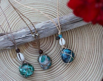Chrysocolla crystal macrame necklace, crystal macrame necklace, chrysocolla crystal jewellery