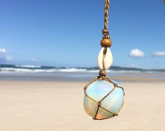 Opalite and cowrie shell necklace, opalite crystal necklace, opalite macrame necklace