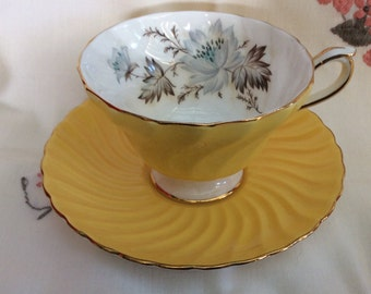 Aynsley Yellow Swirl Tea Cup and Saucer Pattern 2550