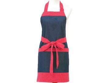 Plus Denim Apron with Large Pockets, Plus Denim & Polka Dot Apron, Large Blue and Red Apron, Plus Denim Kitchen Apron with Large Pockets