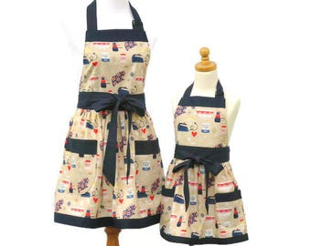 Mother & Daughter Baking Aprons, Mommy and Me Cute Aprons, Mom Daughter Waist Aprons, Matching Cooking Baker Aprons Optional Personalization