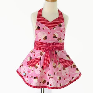 Child/'s Apron Cherries on Pink  Size Large #1033