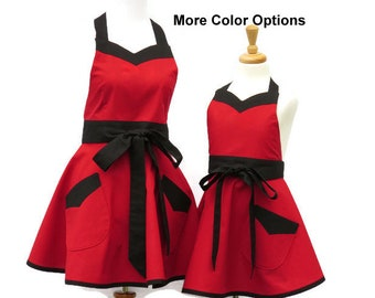 Mother & Daughter Solid Retro Apron Set in 12 Color Options, Mommy and Me Solid Retro Aprons, Matching Solid Aprons For Mom and Daughter