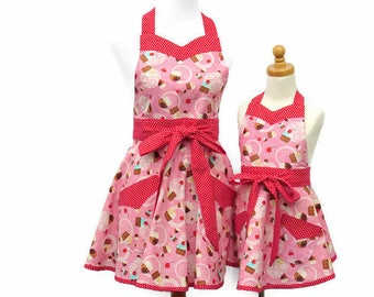 Mother & Daughter Cupcake Apron Set, Mommy and Me Cupcake Aprons, Mommie and Me Pink Retro Apron, Matching Aprons For Mom and Daughter