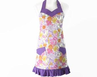 Plus Size Purple Floral Apron, Plus Pink Ruffled Apron, Plus Sweetheart Neck Apron, Plus Easter Apron, Plus Spring Apron, Pretty Plus Apron