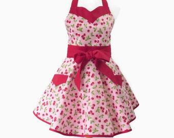 Plus Cherries Retro Apron, Plus Cherries Apron, Pink & Red Large Sweetheart Apron, Plus Personalized Apron with Cherries, Plus Bridal Shower