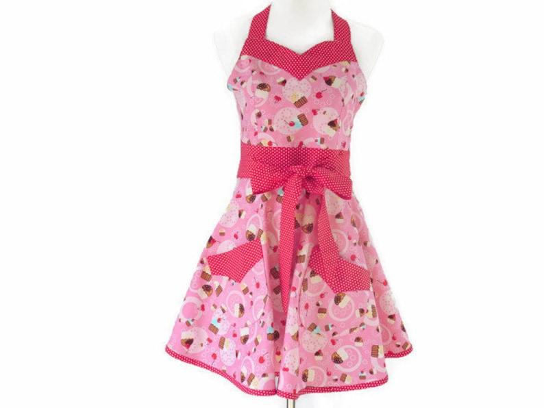 Full Cupcake Apron Cute Retro Apron with Cupcakes Full Skirt Apron Women/'s Retro Cupcakes Apron Personalized Apron Pink Retro Apron