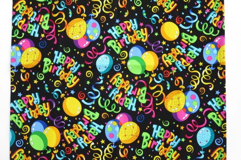 Set of 4 or 6 in a Cute Happy Birthday Cotton Print Birthday Party Cloth Napkins