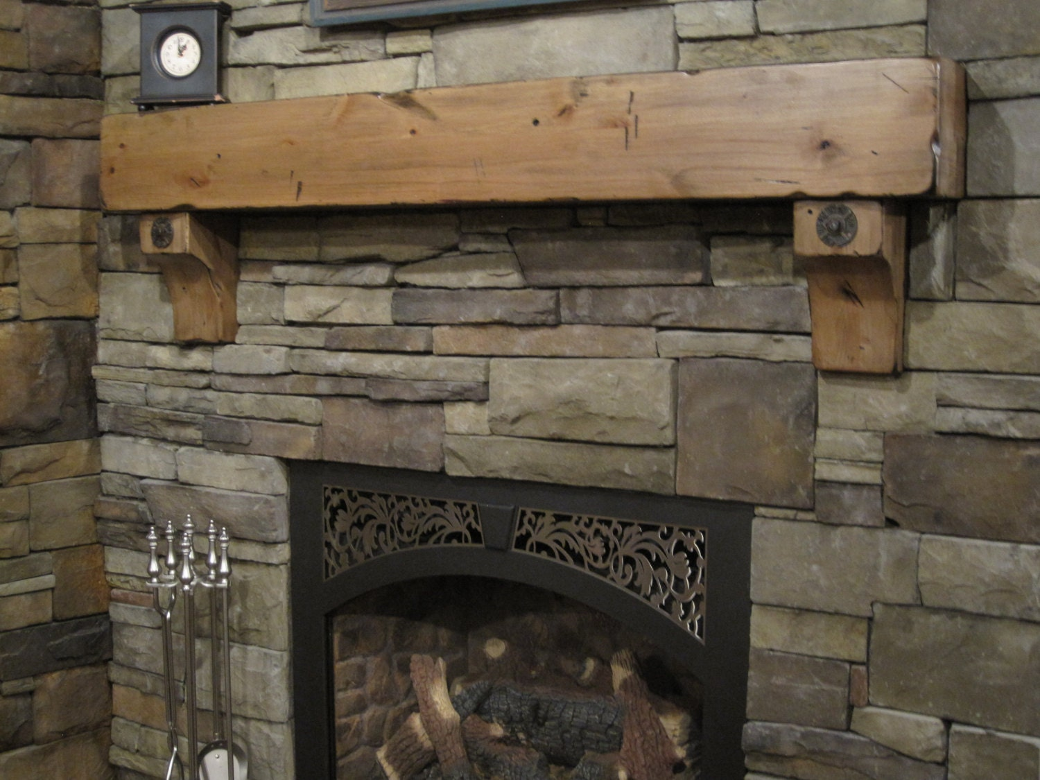 Rustic Fireplace Mantel With Corbels Antique Washers And