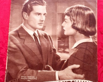 """Old film Magazine vintage number 374 of 10 21, 1953, Mon Film, Georges Marchal and Francoise Christopher in """"love end has aub"""""""
