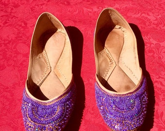 Woman slippers, ballerina slippers shoes leather handmade, decorated with purple beads, size 40, size 8, new