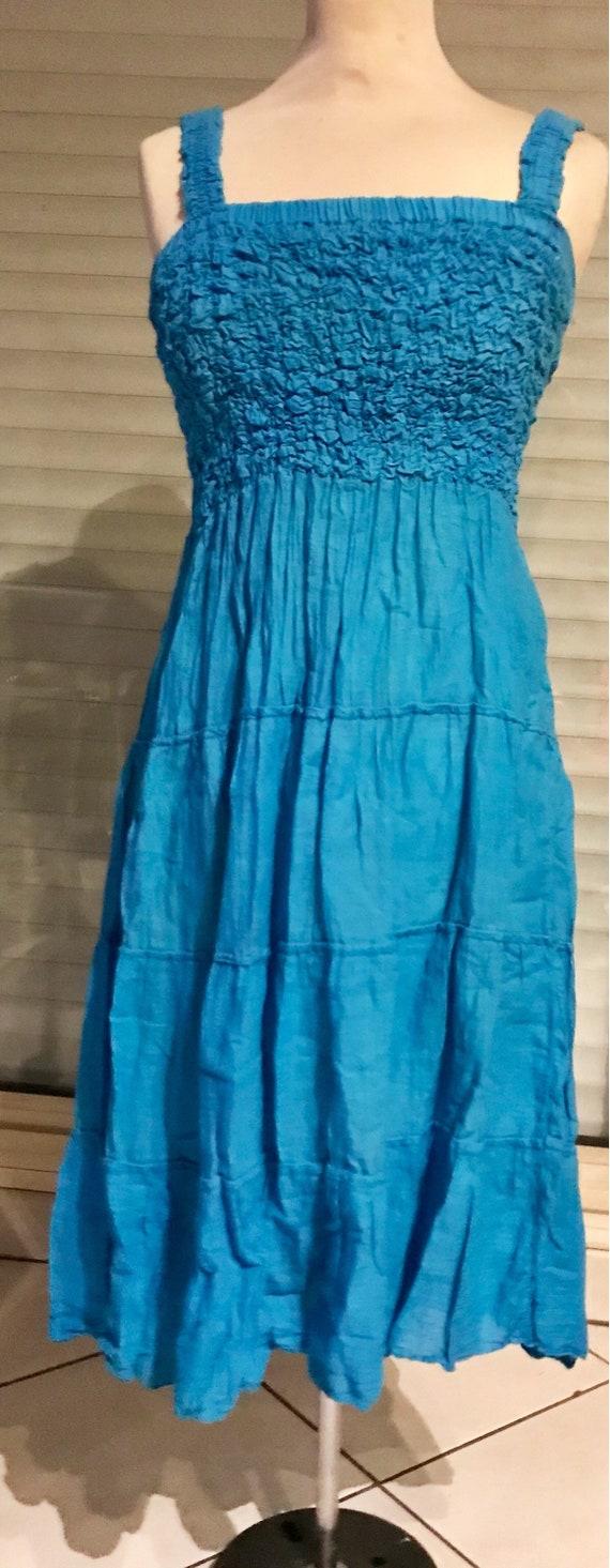 Strapless dress, sunbathing, turquoise blue cotton
