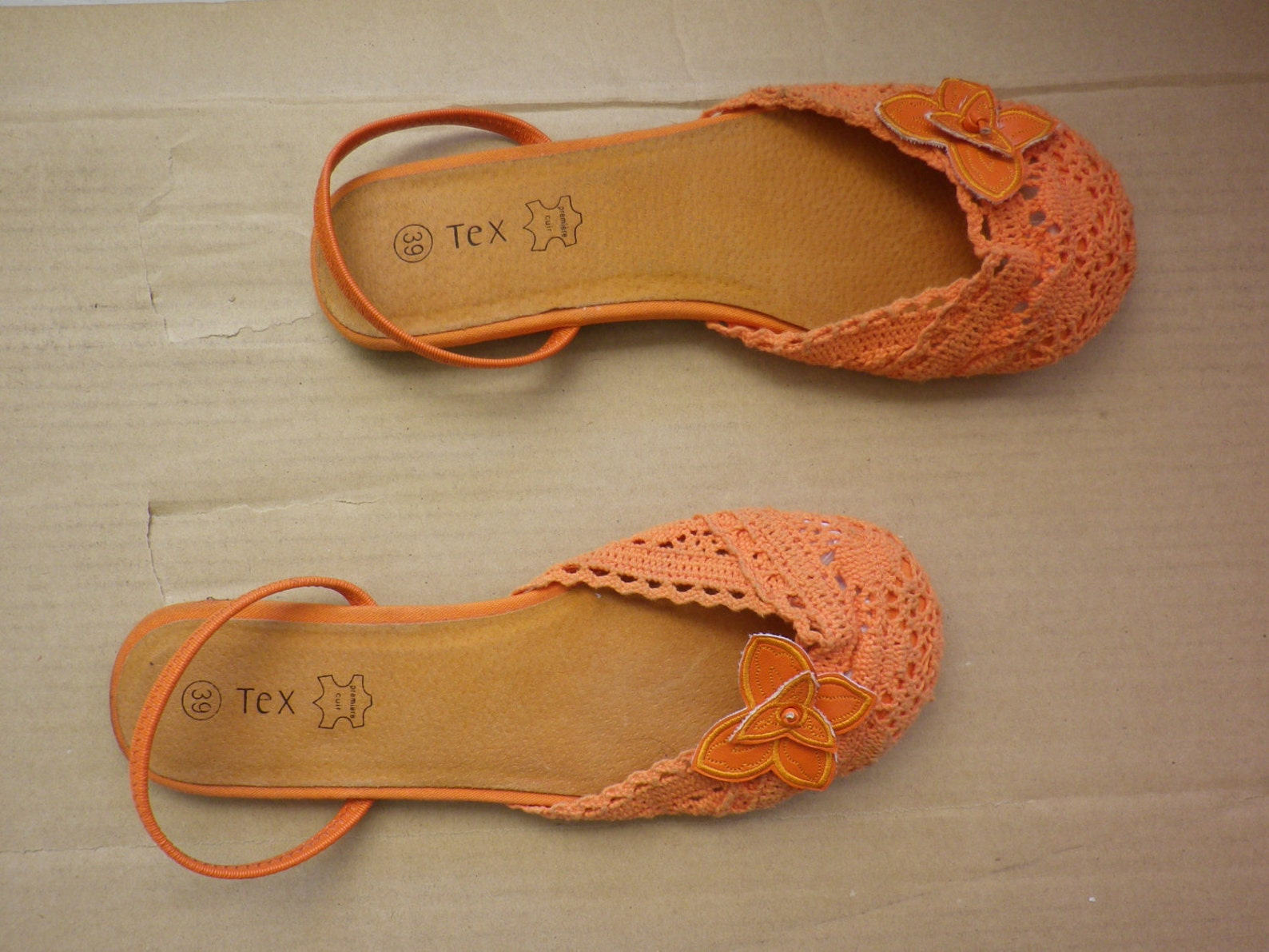 ballet flats shoes vintage slingback, cotton, lace crochet, orange color, size 39, us 7.5 uk 6