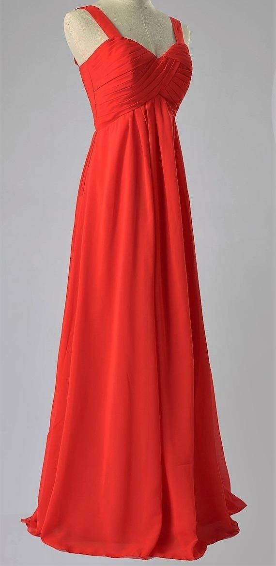 French vintage long dress, chiffon red, draped bus