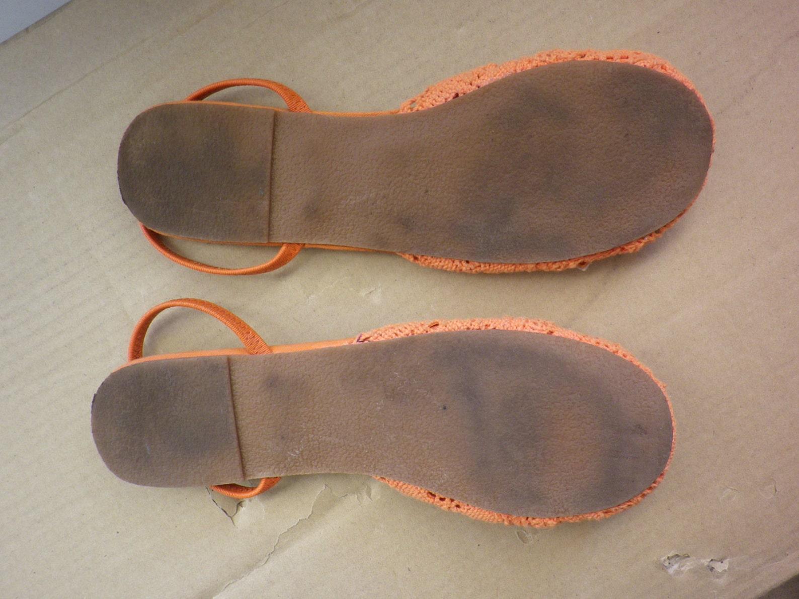 ballet flats shoes vintage slingback, cotton, lace crochet, orange color, size 39, us 7.5 uk 6