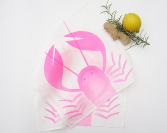2 Neon pink cloth tea towels linen kitchen towels