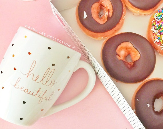 """Large DLC x Eccolo """"Hello Beautiful"""" rose and gold mug with stamped mini hearts - approximately 18 oz"""