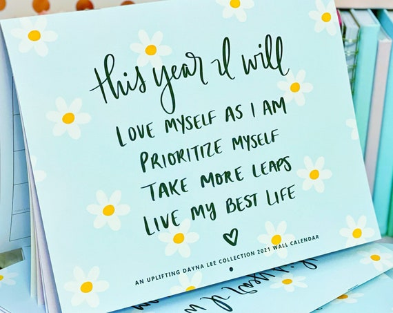 2021 Dayna Lee Collection Hand Lettered Inspirational Wall Calendar (January - December)