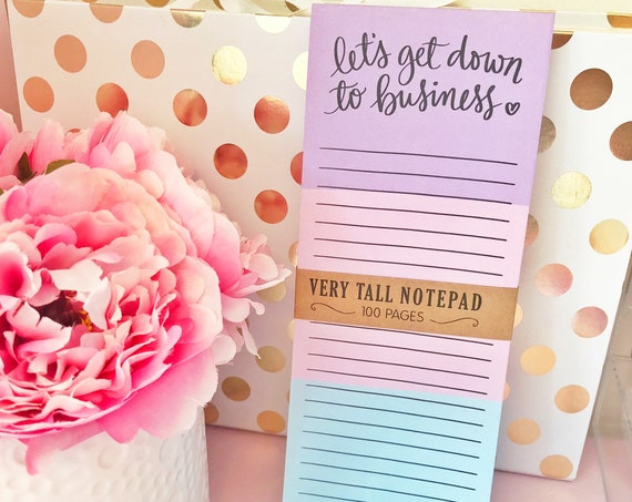 """Lets get down to business - 4"""" x 10"""" long magnetic list pad"""
