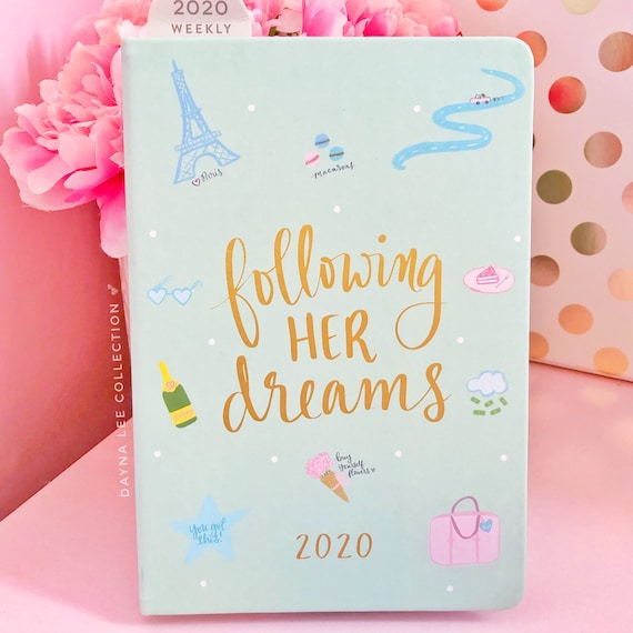 Small 2020 Weekly DLC Planner - Following Her Dreams in Light Mint
