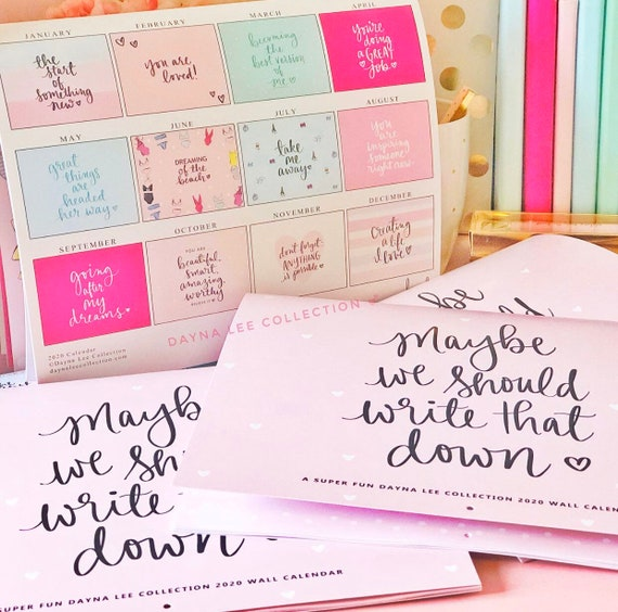 2020 Dayna Lee Collection Hand Lettered Inspirational Wall Calendar (January - December)