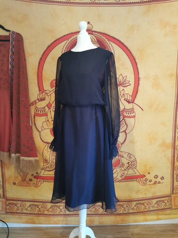 Vtg black 1970s JEAN VARON Chiffon Midi Dress Ball